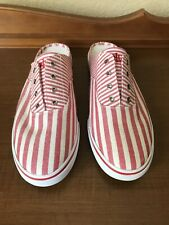 NEW Ralph Lauren Jaida Striped Canvas RED WHITE Slip-On Sneakers Mules SHOES 9.5