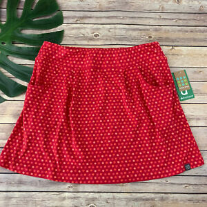 Title Nine Breeze Skirt Size L New Pink Watercolor Polka Dot Pockets Stretch