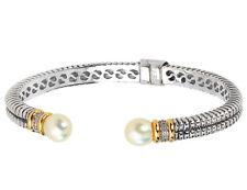 Perla y Diamante Brazalete de cable en plata con oro 14K