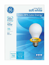 GE  43 watts A19  Halogen Bulb  620 lumens Soft White  4 pk A-Line