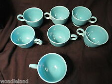 7 Turquoise Fiesta  Ring-handled Coffee Cups Inside Rings Original
