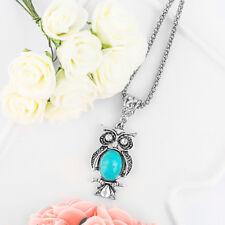 Fashion Latest Unique Woman Owl Silver Pendant Chain Turquoise Sweater Necklace