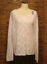 Aerie White Sweater XXL Split Back Layering Crochet Open Knit Swim Cover NWT