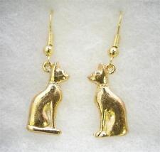 Par de pendientes de Gato Egipcio Chapado en Oro 22 CT, en caja de regalo (WA)
