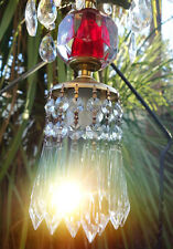 1o7 Vintage cranberry ruby red clear glass Brass hanging lamp chandelier crystal