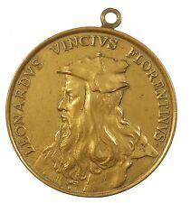 Renaissance LEONARDO DA VINCI By Gerard Leonard Herard later bronze cast 43mm