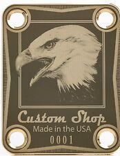 NECK PLATE - Custom Shop - gold - 0001 - USA Eagle - pour guitare & basse