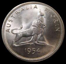 Unc 1954 Australia 1 Florin Silver Coin Lion Kangaroo Elizabeth IIRoyal Visit D