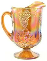 Indiana Glass Iridescent Gold Carnival Harvest Grape Footed 64 ounce Pitcher