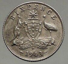 1943 AUSTRALIA King George VI Kangaroos Antique Silver Sixpence Coin i56840