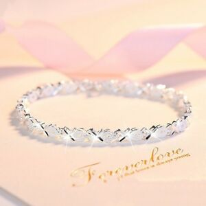 S925 Silver Sterling OX Women Ladies Girl Friendship Bridesmaid Fashion Bracelet