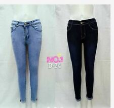 PLAIN SKINNY JEANS WITH FOLDED ANKLE (BLACK) SIZE 32