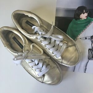 tommy hilfiger Sneakers 6 Womens Gold Lace Up Runners Flats Casual Comfort