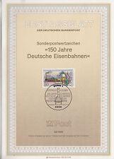 TIMBRE FDC ALLEMAGNE BONN OBL ERSTTAGSBLATT 1° TRAIN EN GARE DE NUREMBERG 1985