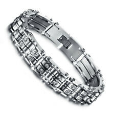 Mens chunky biker stainless steel bicycle bike chain bracelet with rhinestones