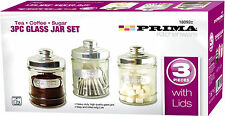 3PC KITCHEN GLASS TEA COFFEE SUGAR STAINLESS STEEL LID JAR CANISTER STORAGE NEW