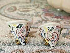 Vintage Miniature Dollhouse Pair Artisan Ron Benson Porcelain Wall Sconces OOAK