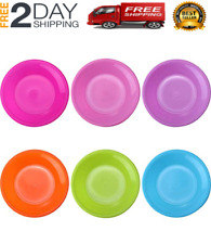 12 Pack Colorful Plate Set Plastic Snack Small Dinner Plates, Microwave And 6