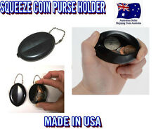 1pc BLACK RUBBER SQUEEZE COIN HOLDER KEYCHAIN MONEY OVAL CHANGE PURSE