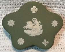 Vintage Wedgwood Jasperware Green Star Shaped Trinket Box Made In England 5 Side