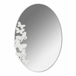 ARTI E MESTIERI specchio da parete BUTTERFLY OVALE in metallo verniciato BIANCO