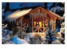 Busch 1085 - Winter Snow Covered Log Cabin with Interior Light HO/00 - T48 Post