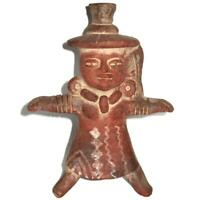 """Mexican Folk Art Clay Terracotta Pottery Aztec Maya, Woman Arms Out Figure, 10"""""""