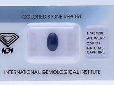 natürlicher 2,59 Karat Saphir Oval dark blue IGI Expertise