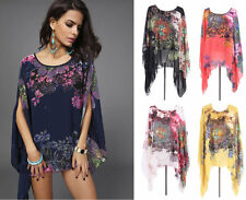 Women Lady Batwing Sleeve Loose Floral Print Blouse Top T-shirt Plus Size Shirts