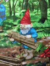 RPF24A Forest Gnomes Working Cabin Scandinavian Style Retro Cotton Quilt Fabric