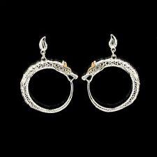 Boucles d'Oreilles Clous Argenté Art Deco Dragon Cercle Anneau Plaqué Or QD3