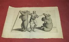 Antique Old Master Print of Dancing Bears