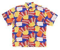 "VTG 60s 70s Pineapple Moon Men XL 52"" Shirt Pattern Hawaiian Short Sleeve Rayon"