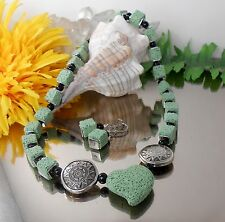 SET Halskette Herz + Ohrhänger in Lava grün + Glas Perlen schwarz