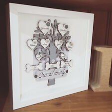 Personalised Handmade Our Family, Family Tree Pets Picture Box Shadow Frame