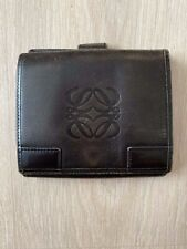 LOEWE Vintage Logo Black Leather Flap Short Square Wallet Purse Cardholder