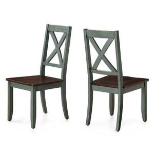 Rustic Design Dining Room Farmhouse Kitchen Chair Solid Wood Seats Set of 2