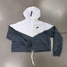Nike CROP TOP Heritage Jacket Windbreaker BlackWhite Zip Top AR2511 010 Large   eBay