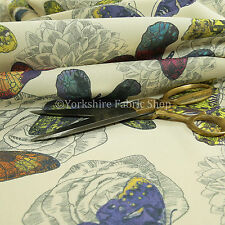 New Animal Fly Butterfly Pattern Upholstery Fabric Red Blue Green Yellow Tropica