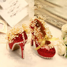 Red Womens Wedding Shoes Rhinestones Flowers Bride High Heel Stilettos Diamond Q