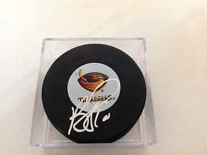 Bryan Little Signed Hockey Puck Atlanta Thrashers Autographed Winnipeg Jets b