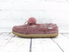 L.L. Bean Wicked Good Purple Camp Moccasins Slippers Leather Shearling Women's 6