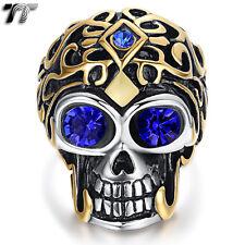 High Quality TT 14K Gold GP 316L Stainless Steel Skull Ring Blue Eye (RZ144) New
