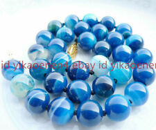 """Huge 12mm Round Blue Striped Agate Onyx Gemstone Beads Necklaces 18"""" AAA"""