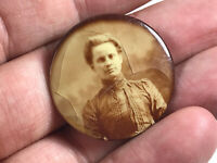 Antique Celluloid Photo Button Pin Pinback w/ Lovely Western Pioneer Woman