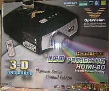 "Opta Vision Lcd Projector with 80"" Screen, Blue Ray Compatable"