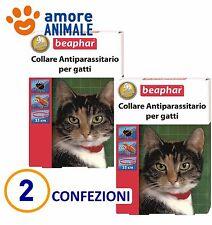 2 CONFEZIONI - Beaphar Collare Antiparassitario rosso Protettivo Gatto 35 cm