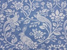 iLiv Heathland Indigo Blue Birds Rabbits Curtain Craft Upholstery Fabric