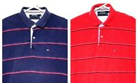 Tommy Hilfiger Vtg Lot of Two Men's XL Horizontal Striped Blue / Red Polo Shirts