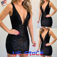 Sexy Women Mini Dress Deep V-neck Sequins Sleeveless Party Cocktail Evenings US